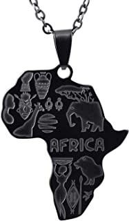 FJ Africa Map Necklace with Animal Design African Style Pendant Necklace