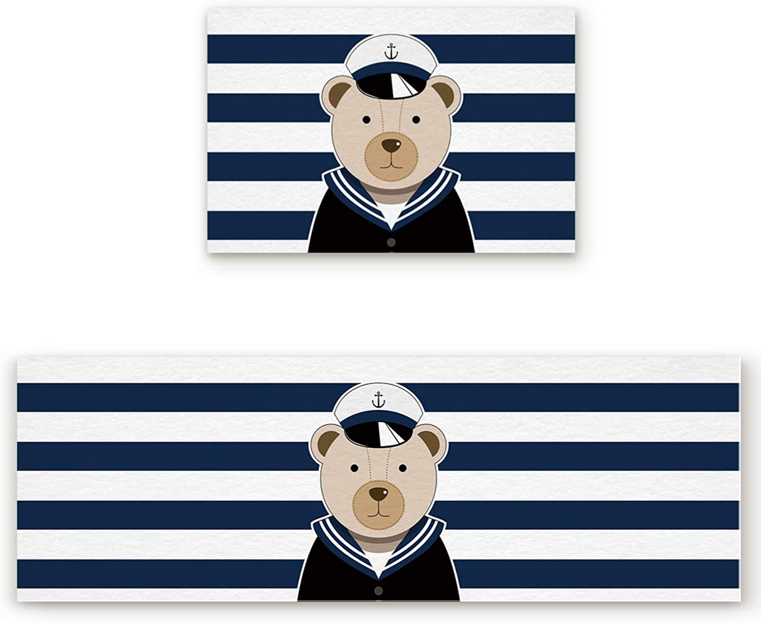 Animal Theme Door mat 2 Piece Set, Cute Bear Sailor Pattern bluee and White Doormat Rug,Decorative Felt Floor Mat with Non-Skid Backing,Fit for Indoor,Kitchen,Bedroom (19.7x31.5in+19.7x63in)