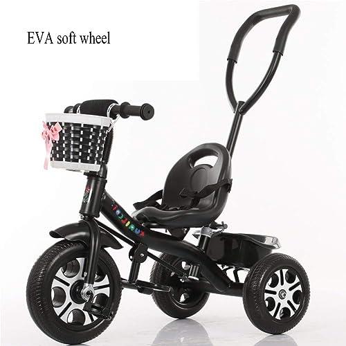 GIFT Kinderwagen Kinderwagen Kinder Dreirad Fahrrad, Abnehmbare Schubstange, Weißhes Eva-Rad, 2-6 Jahre Alt Spielzeug Geschenk,J