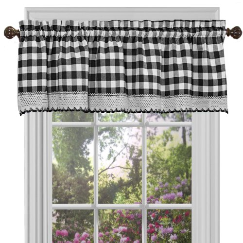 "Achim Home Furnishings Valance Buffalo Check Window Curtain, 58"" x 14"", Black & White"