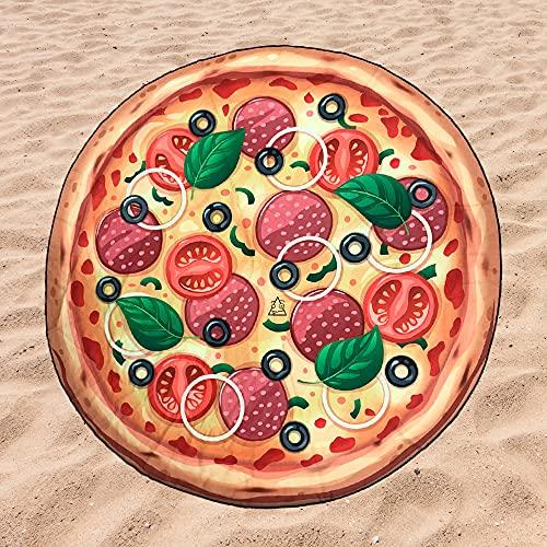 BE CRAZY THE BRAND Toalla de Playa Microfibra Forma de Pizza - Poliéster y Nylon, 151cm Diámetro.