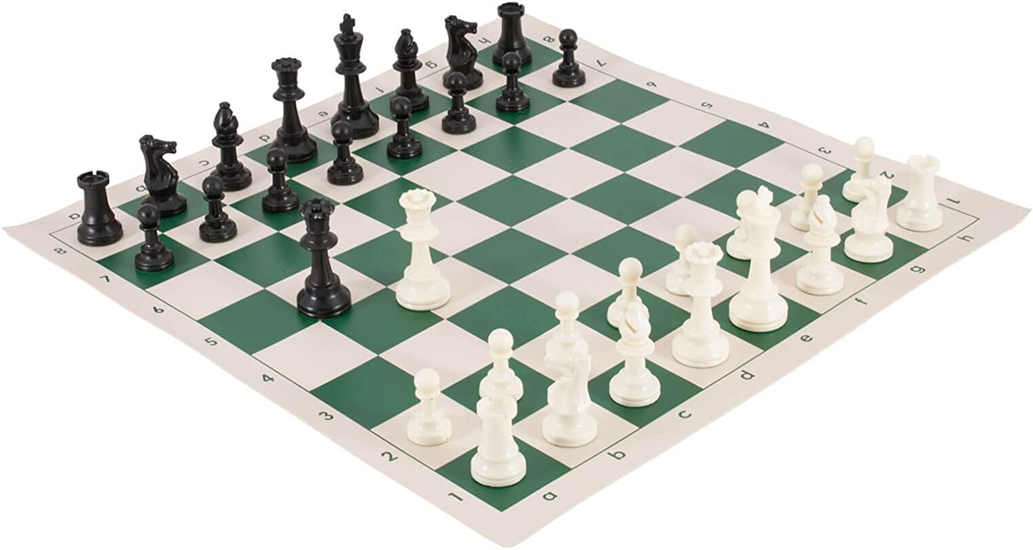 Tournament Chess Pieces and Chess Board Combo  SINGLE WEIGHTED  Green & Buff Regulation Vinyl  by US Chess Federation