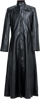 L.Outfitters Men's New Matrix Neo The One Keanu Reeves Mens Gothic Black Leather Trench Coat