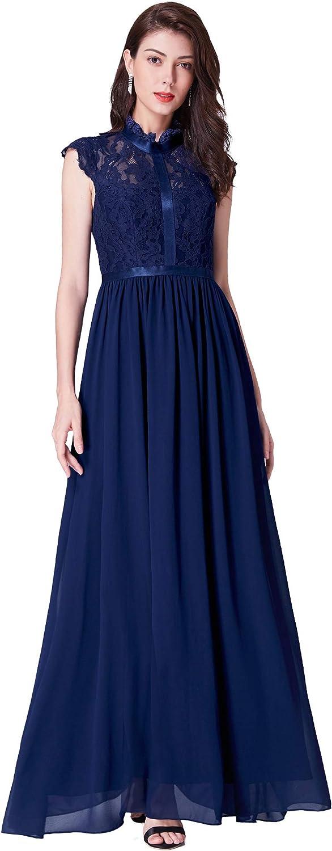 EverPretty Women Long ALine Evening Dress HighNeck Lace Bodice 07379