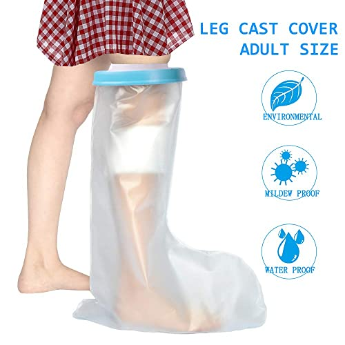 Waterproof Leg Cast Protector for Adults - Reusable Shower Cast Cover Bandage Protector Water Resistant Dry