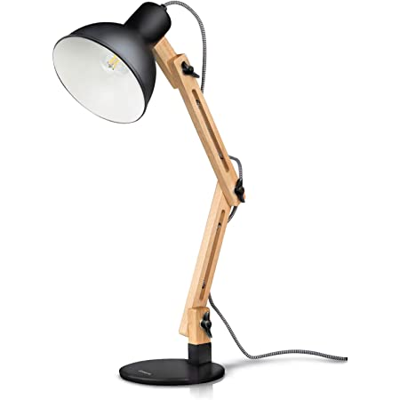 Tomons Swing Arm Desk Lamp, Wood LED Table Lamp, Reading Lights for Office, College Dorm, Living Room, Bedroom, Study, Bedside Nightstand Adjustable Lamp with 4W LED Bulb