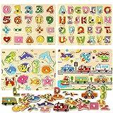 BeebeeRun Set di 4 Puzzle in Legno per Bambini,Puzzle Lettere Alfabeto ABC Numeri Veicoli Animale, Educativo Giocattoli Bambini 2 3 4 5 Anni Ragazza Ragazzo