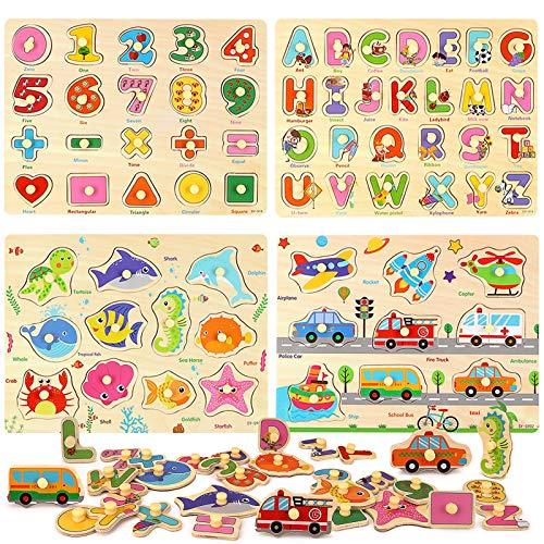 BeebeeRun 4 Piezas Puzzle de Madera Letras,Número,Vehículo y Animales,Juguetes Educativos Rompecabezas de Clavijas de Madera para 1 2 3 + Años Niños Niñas