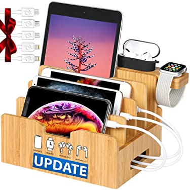 Bamboo Charging Station forMultipleDevices with Integrated iWatch5 & AirPods Pro Stand, Desktop Charging Docking Station Organizer for iPhone 12, Tablet, 5 Charging Cables Included(No Power Supply)