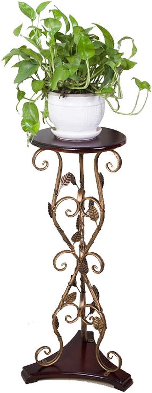 SYF European Retro Flower Pot Rack Solid Wood Flower Pot Balcony Living Room Iron Flower Stand A+ (Size   80 cm)
