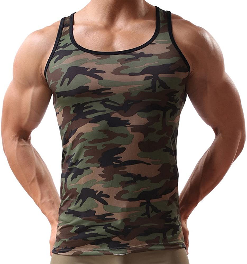 DIOMOR Men's Classic Camouflage Slim Fit Tank Tops Sleeveless Military Shirts Casual Workout Gym Fitness Sweatshirt