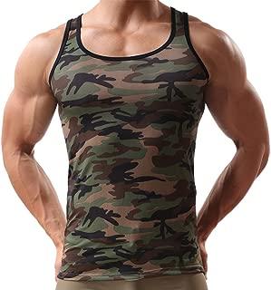 Men's Camouflage Print Tank Top Men's Sleeveless Vest Stretch Sportswear Tee Shirt Blouse