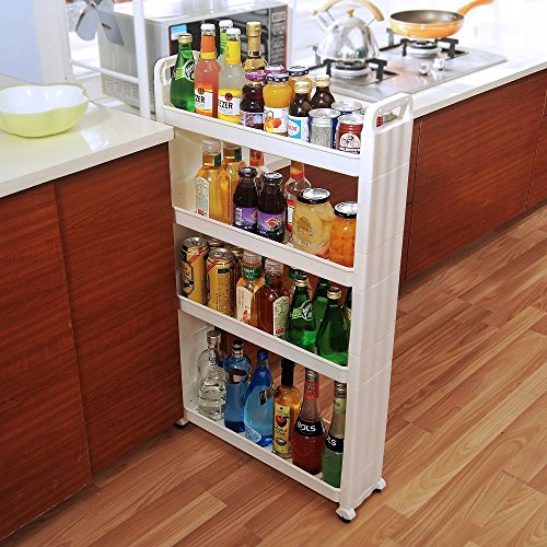 BAOYOUNI Rolling Slim Cart Between Washer Dryer Cabinet Storage Shelf Rack Narrow Slide Out Tower Organizer Space Saving Shelving Units with Wheels (4-Tier)