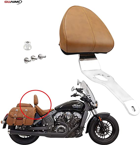 Motorcycle Chrome Driver Backrest Support Back Rest Sissy Bar Pad For Indian Scout 2015-2018 Scout Sixty 2016-2018 Brown
