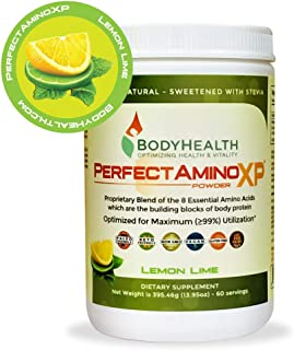 BodyHealth PerfectAmino XP Lemon Lime (60 Servings), Best Pre/Post Workout Recovery Drink, 8 Essential Amino Acids Energy Supplement with 50% BCAAs, 100% Organic, 99% Utilization