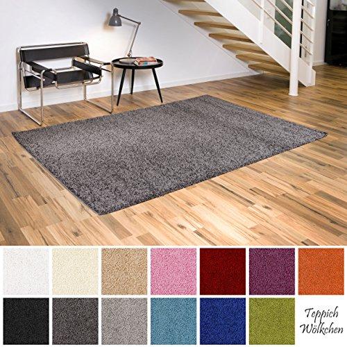 Teppich Wölkchen Shaggy-Teppich | Flauschige Hochflor Teppiche für Wohnzimmer Küche Flur Schlafzimmer oder Kinderzimmer | Einfarbig, schadstoffgeprüft, allergikergeeignet (Dunkelgrau, 60 x 90 cm)