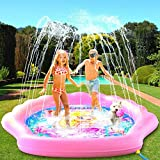 "PRINCESSEA USA 4-in-1 Splash Pad for Kids, XXL 70"" Outdoor Children's Water Pad, Wading Pool & Sprinkler & Play Mat for Girls - Inflatable Kiddie Swimming Pool, Water Toys for Toddlers 12 Months & Up"