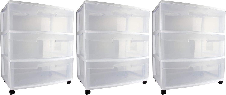 Sterilite Home 3 Drawer Wide Storage Cart Container ◆高品質 Portable w C 商舗