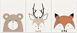 Woodland Creatures Wall Art Nursery Decor - set of 3