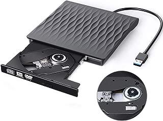 External CD/DVD Drive USB 3.0 Slim Portable High Speed Data Transfer CD/DVD-RW Drive/Writer/Burner/Rewriter/Player for MacBook Pro Laptop/Desktops Win 7/8/10 and Linux OS (Black)