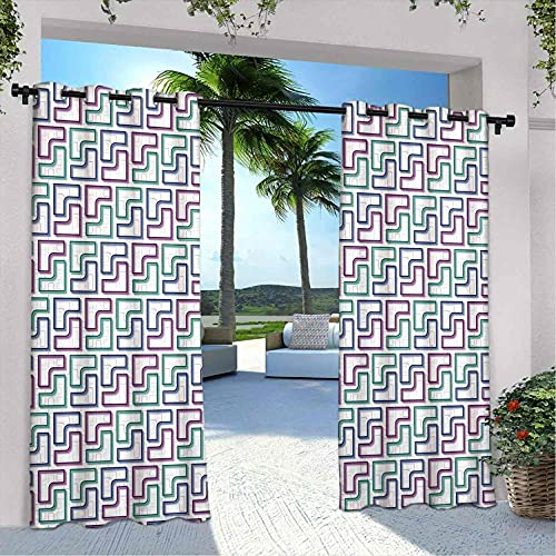 Cortinas geométricas para patio al aire libre, diseño de rompecabezas, diseño digital, aislamiento térmico, sombreado e impermeable, 120 x 72 pulgadas, color blanco, morado, azul oscuro