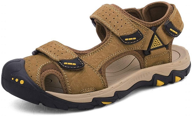 Men's Leather Wear-Resistant Beach shoes Breathable Casual Outdoor River shoes Summer Leather Sandals (color   Khaki, Size   41)