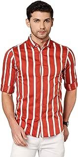 Dennis Lingo Men's Striped Navy Slim Fit Cotton Casual Shirt
