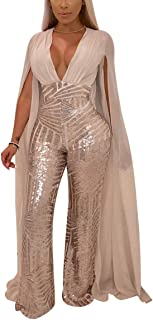 Women Sexy Deep V Neck Sequin Long Sleeve Backless Cape Bodycon Jumpsuits Elegant Romper Plus Size