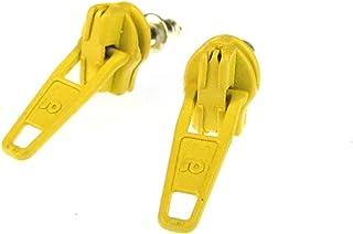 Miniblings Reißverschluss Zipper Ohrstecker Zip Upcycling 80s gelb - Handmade Modeschmuck I Ohrringe Stecker Ohrschmuck