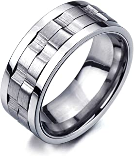 COOLSTEELANDBEYOND Refined Style Stainless Steel Spinner Unisex Ring Man Ring Comfort Fit 9mm