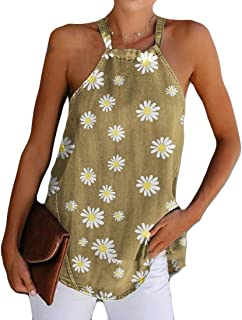 desolateness Womens Tops Sleeveless Halter Racerback Summer Basic Tee Shirts Cami Tank Tops Beach Blouses