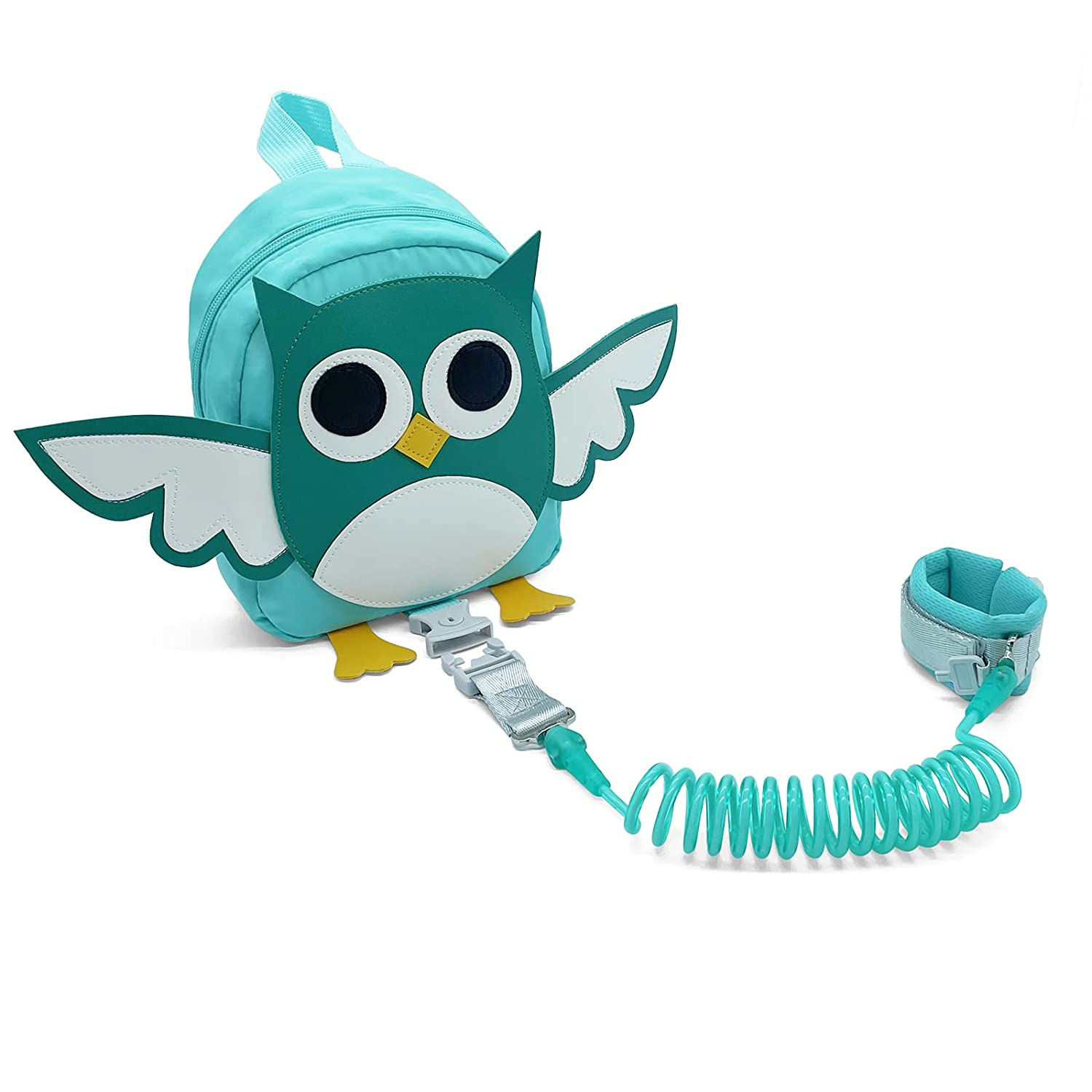 MOSENNY Backpack Leash for Toddlers, Cute Owl Backpack with Safety Leash, Anti-Lost Backpack for Toddlers, Suitable for Boys and Girls (Light Green)
