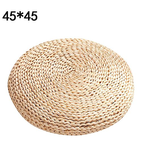 INSTO Handmade Straw Woven Cushion, Yoga Meditation Round Mat Seat Cushion Rattan Stool,L