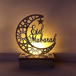 jiulonerst-New Wooden Ramadan Eid Mubarak Moon Star Islam Hanging Pendant Plate with LED String Lights Ornament