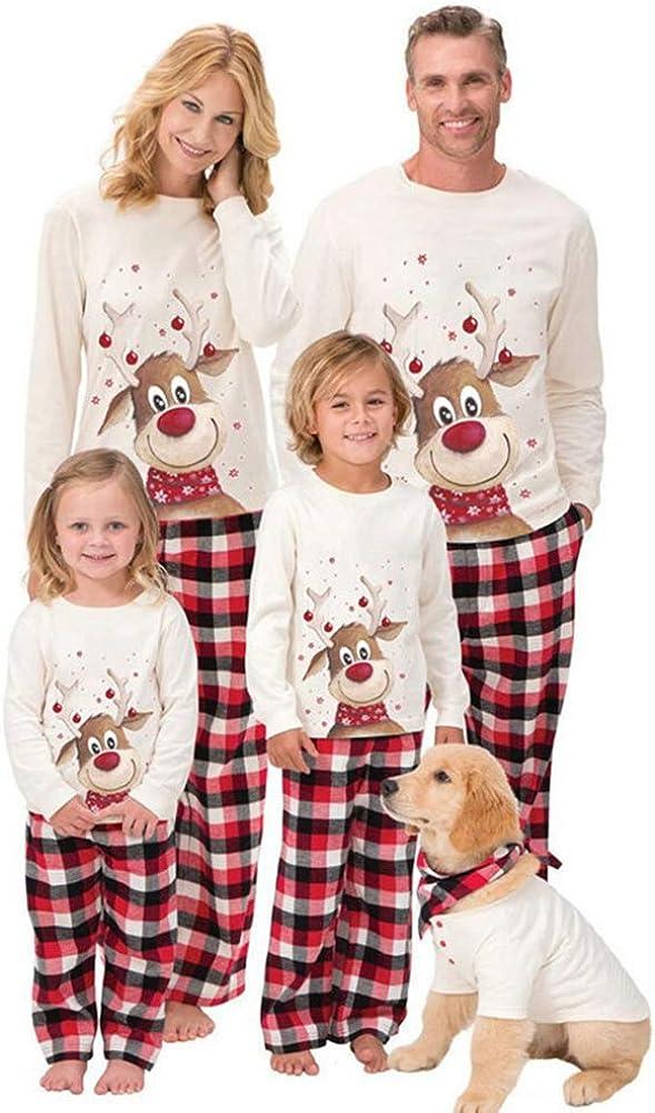 Matching Family Christmas Pajamas Sets Creative Long Sleeve Tee and Pants Xmas Loungewear Pajamas Sleepwear