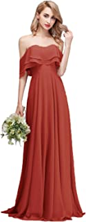 Strapless Chiffon Bridesmaid Dresses Long with Shoulder Ruffles for Women Girls to Wedding Party Gowns