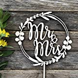HappyPlywood Mr and Mrs Cake Topper Eucalyptus Wreath for Wedding Wooden Wreath with Leaves Floral Wedding Decor Mr&Mrs