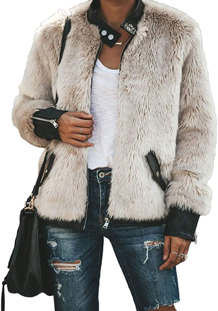 Vicky Wheeler Women Winter Warm Stand Collar Zip Up Faux Fur Coats Outwear Jacket with Pockets
