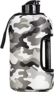 2.2L Water Bottle With Case - Premium Strong Durable 75oz Half Gallon Water Jug with Handle and sleeve - Water Jug Contain...