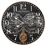 Reloj Negro de Pared Decorativo de Madera con Péndulo Mapamundi .Adornos. Decoración Hogar. Muebles Auxiliares. Menaje . Regalos Originales. 58 x 4 x 58 cm.
