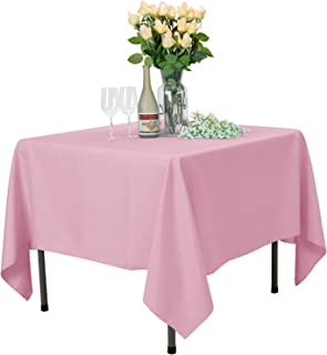 VEEYOO Square Tablecloth 100% Polyester Table Cloth for Indoor and Outdoor Table – Solid Dinner Tablecloth for Wedding Party Restaurant Coffee Shop (Pink, 70x70 inch)