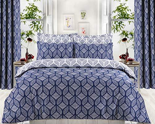 Divine Textiles Hotel Quality 100% Egyptian Cotton Reversible Duvet Cover Set (Matra Blue, Single)