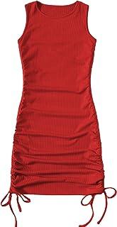 SheIn Women's Ruched Sleeveless Mini Bodycon Dress Drawstring Tie Side Round Neck Short Dresses
