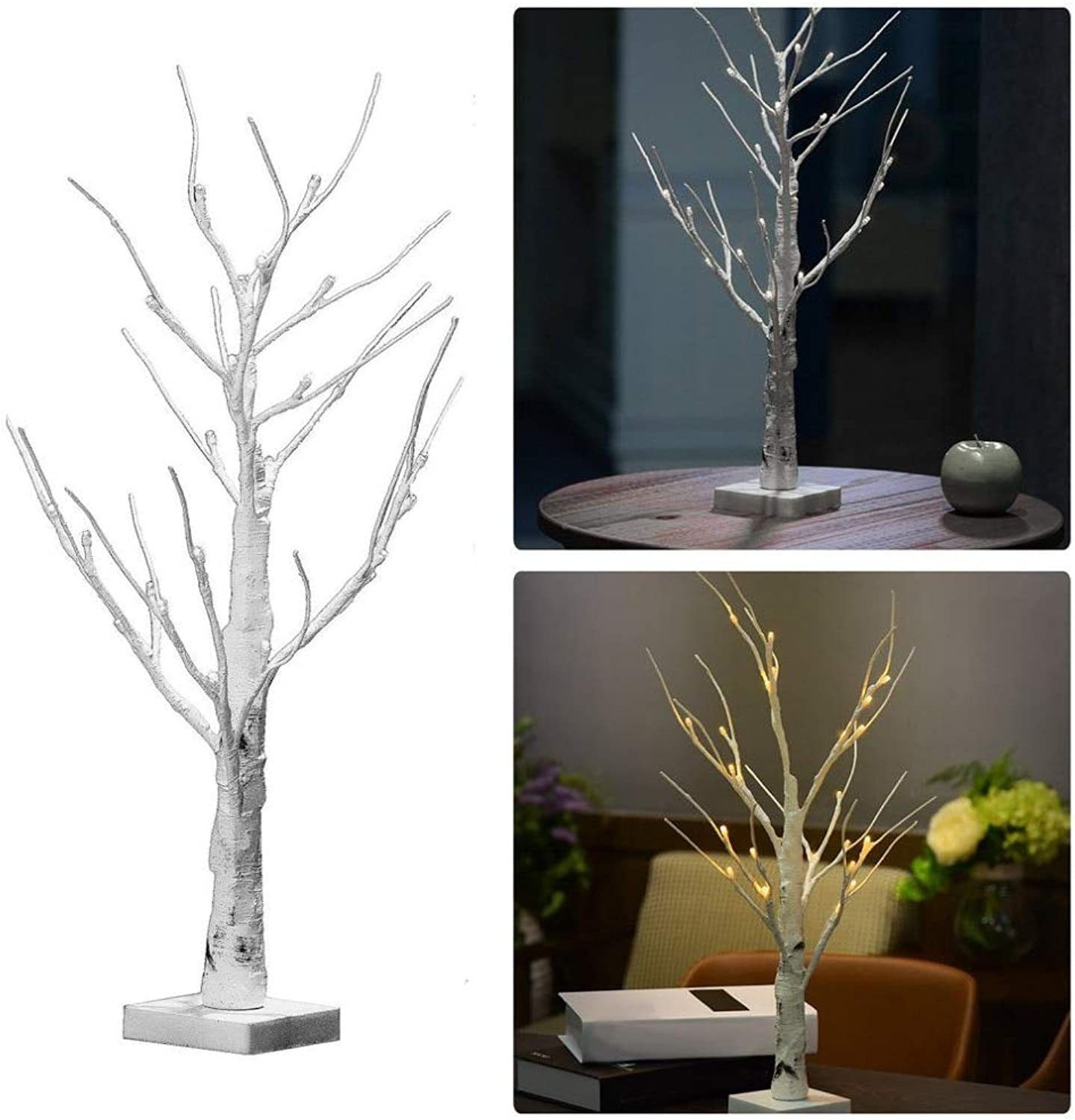 AMZVASO  60cm Silver Birch LED Tree Lamp Landscape Table Night Light Festival Christmas Decoration Gift White Warm White
