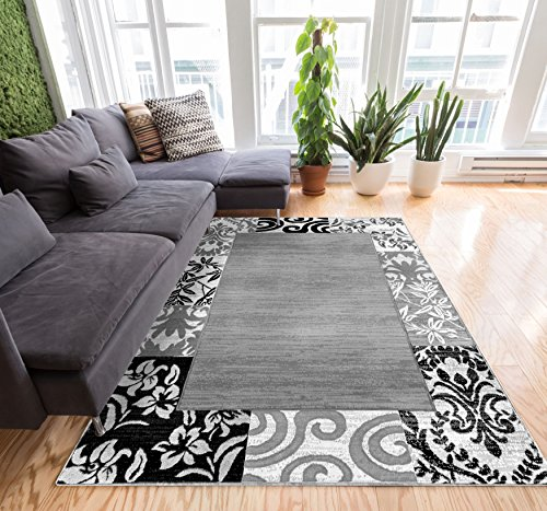Well Woven Florence Ombre Damask Grey Ivory Ombre 8x10 (7'10' X 9'10') Area Rug1 Patchwork Modern Easy Care Cleaning Shed Free Carpet