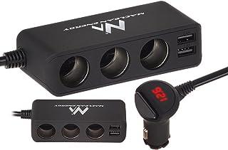 Maclean Energy MCE117 - Ladrón y alargador de mechero de Coche 12V, 3 Tomas y 2 Puertos USB