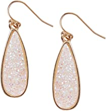 Humble Chic Simulated Druzy Drop Dangles - Gold-Tone Sparkly Long Teardrop Dangly Earrings for Women