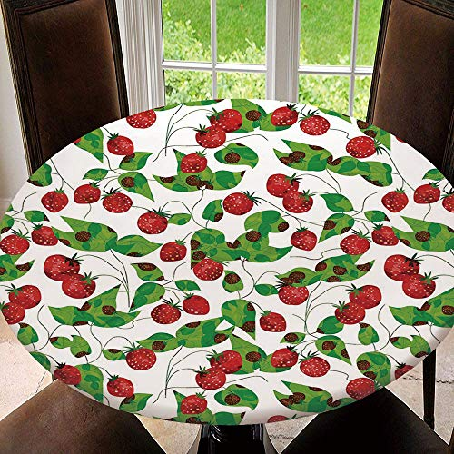 BeeMeng Elastic Edged Round Tablecloth Fruits,Summer Vibes with Strawberry Branch Decorative for Holiday, Dinner Parties, Special Occasions Tablecloth Size 44'(Fit for 32.2'-36.1' Table)