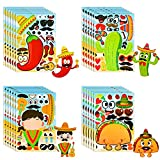 Konsait 24 Sheets Mexican Make Your Own Stickers Decorative for Kids Fiesta Cinco De Mayo Sticker Mix And Match Cactus Sticker Halloween Carnival Bachelorette Party Favor Supplies