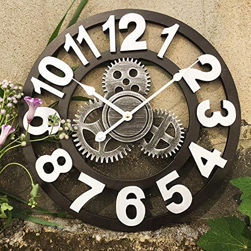 Fnho Moderno Reloj de Pared Mute,para Decorar La Oficina Casa Reloj de Pared,Reloj de Pared Retro Gear, Banco de Lujo con luz silenciosa, Plateado B_45cm